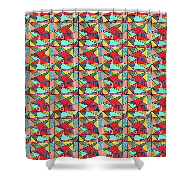 Colorful Geometric Abstract Pattern Shower Curtain
