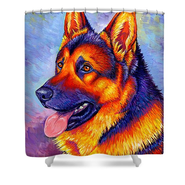 Colorful German Shepherd Dog Shower Curtain
