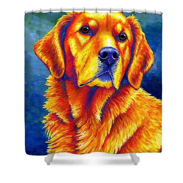 Colorful Golden Retriever Dog Shower Curtain