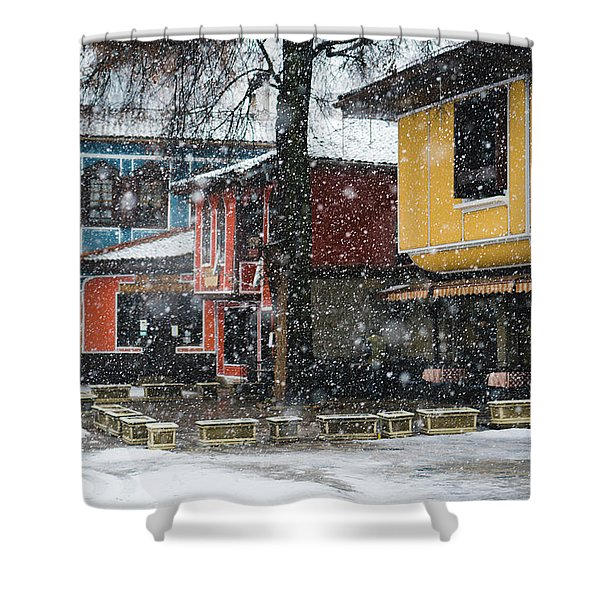 Shower Curtain featuring the photograph Colorful Koprivshtica Houses In Winter by Milan Ljubisavljevic