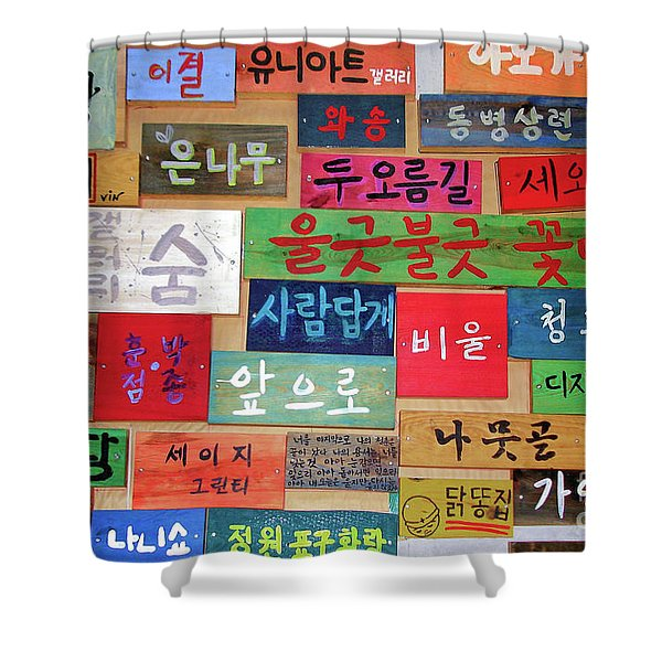 Colorful Korean Hangeul Signs Shower Curtain