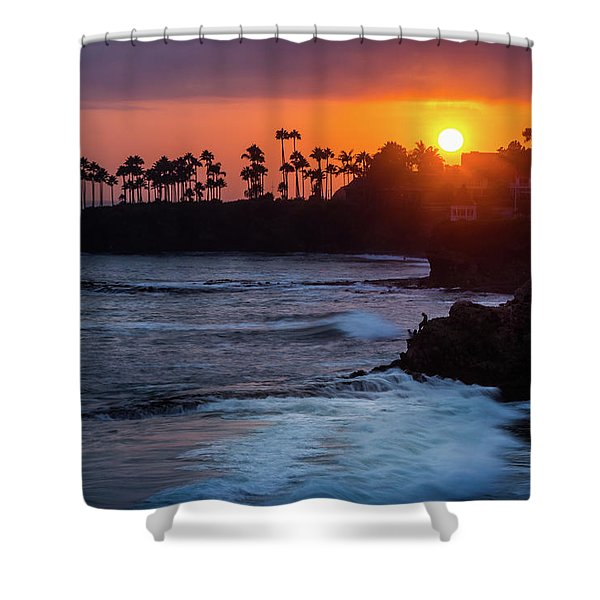 Colorful Laguna Beach Sunset Shower Curtain