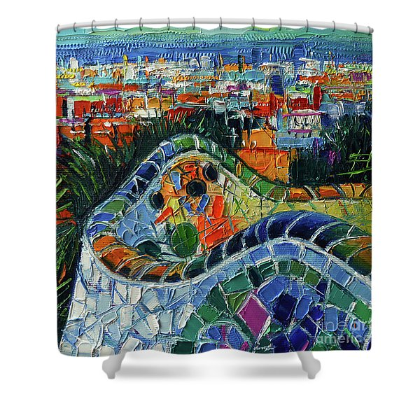 Colorful Mosaic Park Guell Barcelona Impasto Palette Knife Stylized Cityscape Shower Curtain