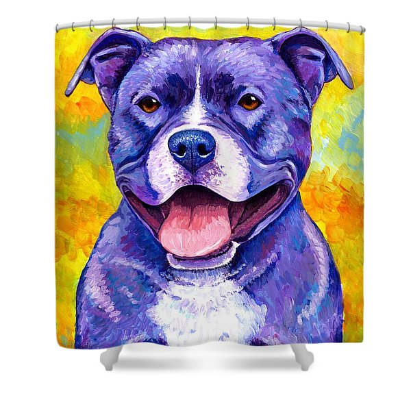Colorful Pitbull Terrier Dog Shower Curtain