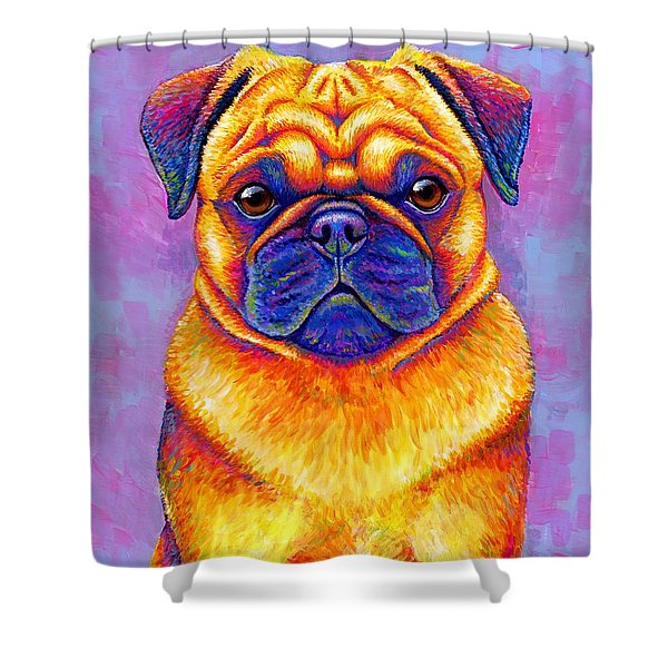 Colorful Rainbow Pug Dog Portrait Shower Curtain