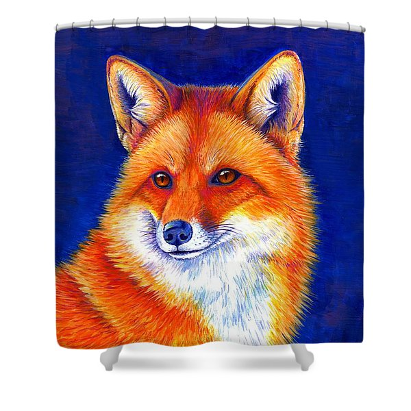 Colorful Red Fox Shower Curtain