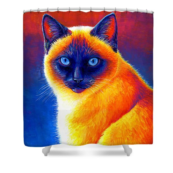 Jewel Of The Orient - Colorful Siamese Cat Shower Curtain