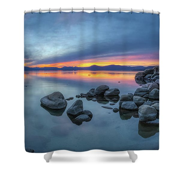 Colorful Sunset At Sand Harbor Panorama Shower Curtain