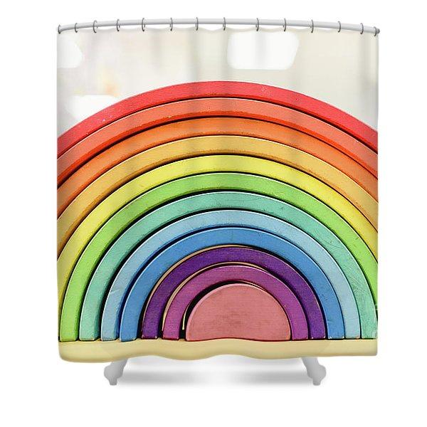 Colorful Waldorf Wooden Rainbow In A Montessori Teaching Pedagogy Classroom. Shower Curtain