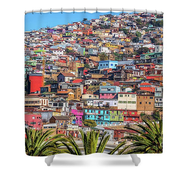 Colorful Walls Of Valparaiso Shower Curtain