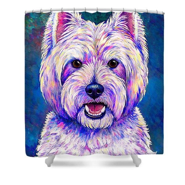 Colorful West Highland White Terrier Blue Background Shower Curtain