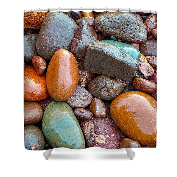 Colorful Wet Stones Shower Curtain