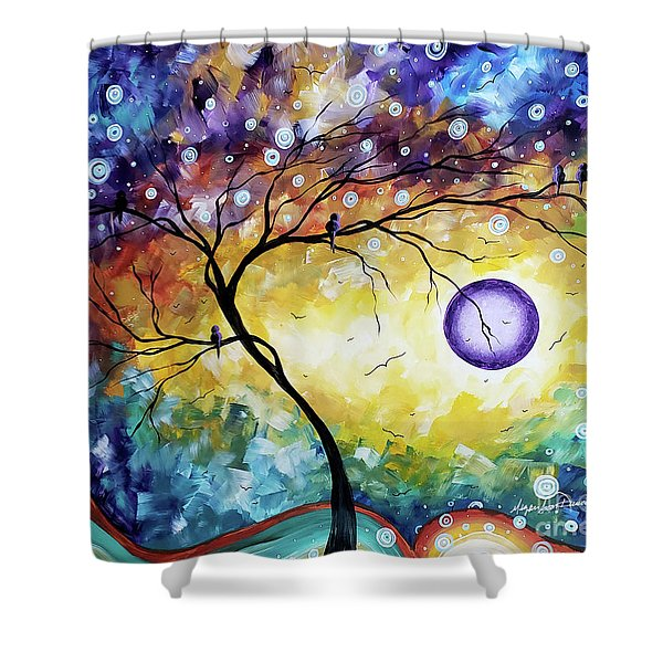 Colorful Whimsical Original Landscape Tree Painting Purple Reign By Megan Duncanson Shower Curtain