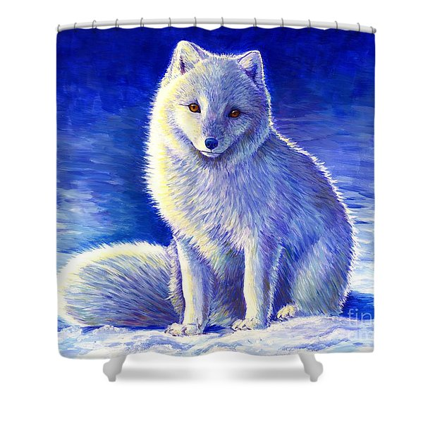 Colorful Winter Arctic Fox Shower Curtain