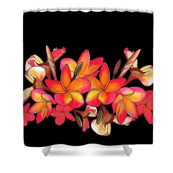 Coloured Frangipani Black Bkgd Shower Curtain