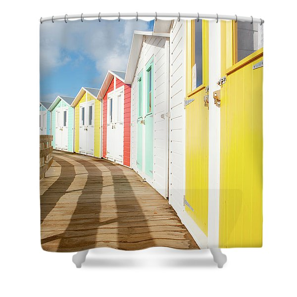 Colourful Bude Beach Huts Shower Curtain
