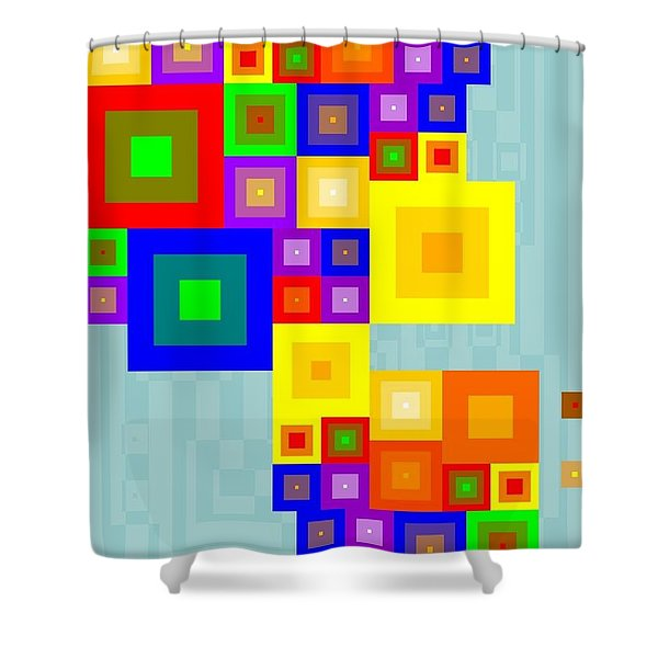 Colourful Cubism  Shower Curtain