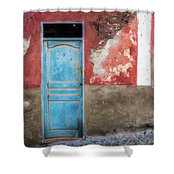 Colorful Wall With Blue Door Shower Curtain