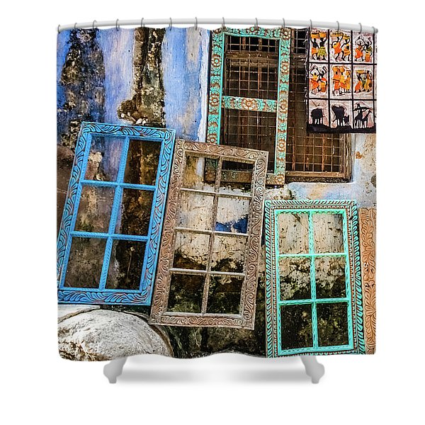 Colorful Window Frames Shower Curtain