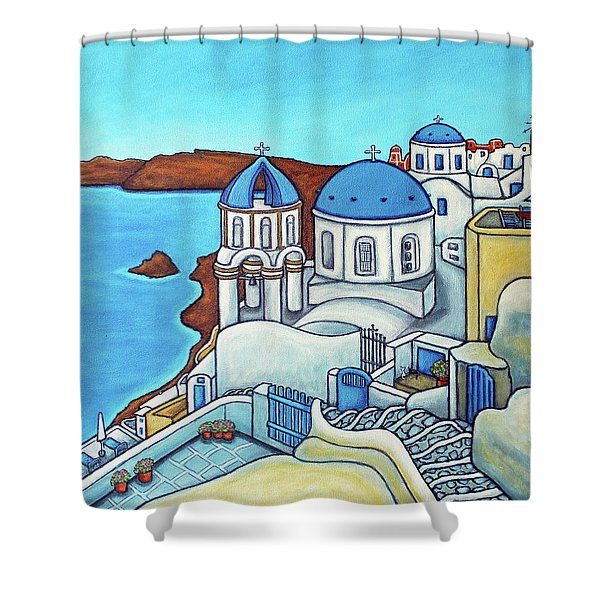Colours Of Santorini Shower Curtain