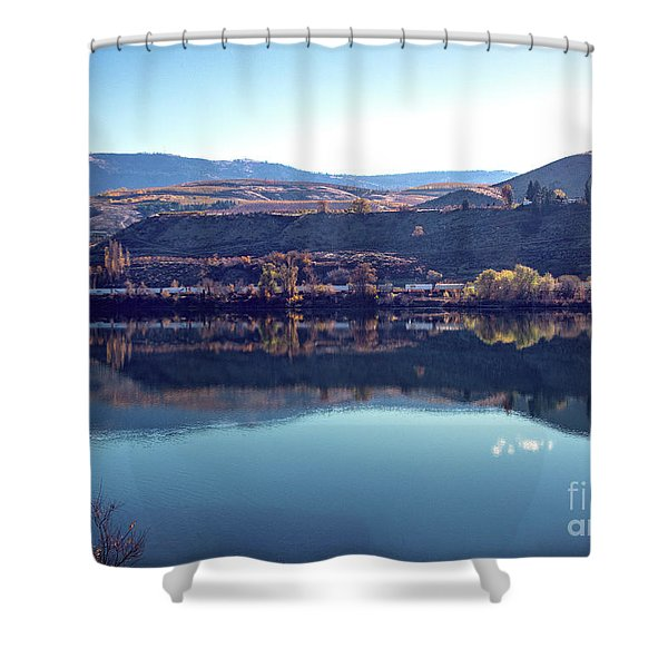 Shower Curtain featuring the photograph Train Reflection by Mae Wertz