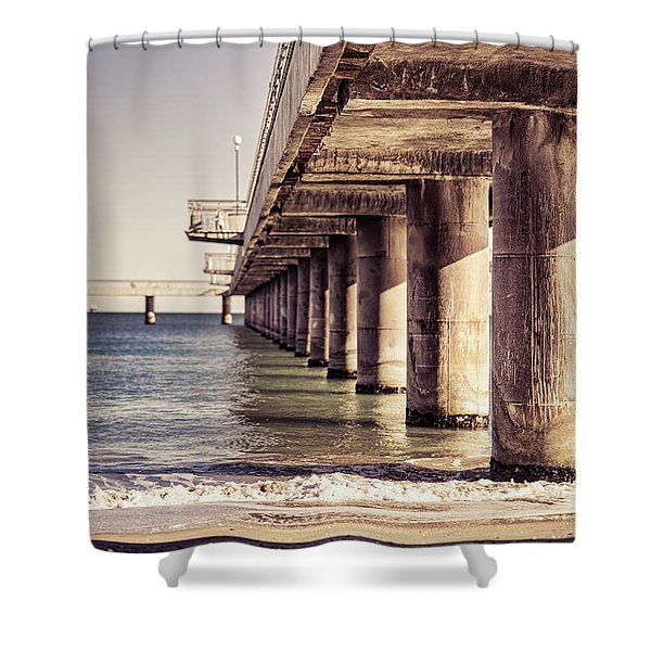 Shower Curtain featuring the photograph Columns Of Pier In Burgas by Milan Ljubisavljevic