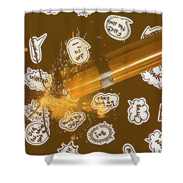 Comical Charge Shower Curtain