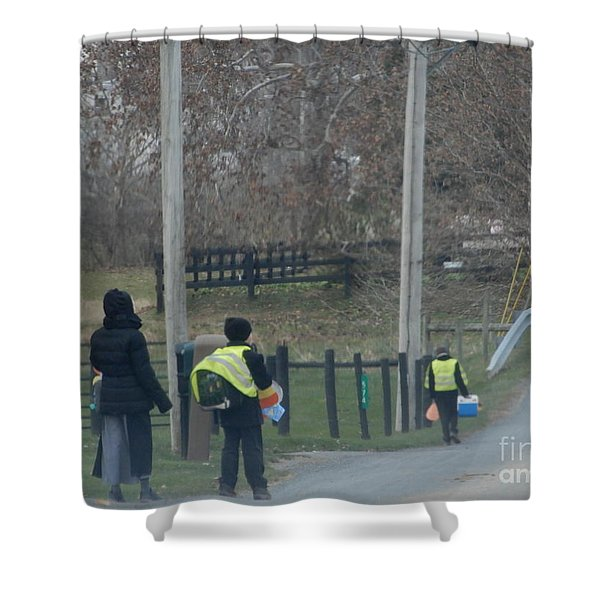 Coming Home From School Shower Curtain