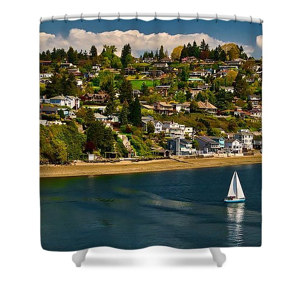 Commencement Bay,washington State Shower Curtain