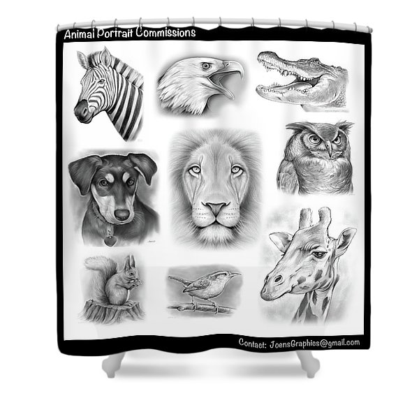Commissioned Animal Portraits Shower Curtain
