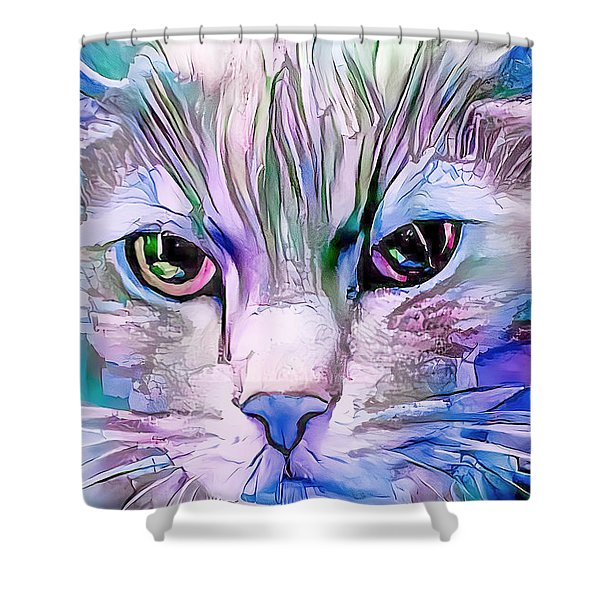Cool Blue Cat Shower Curtain