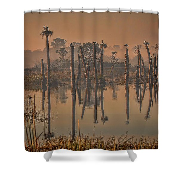 Cool Day At Viera Wetlands Shower Curtain