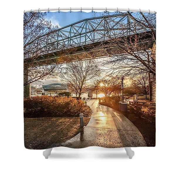 Coolidge Park Path At Sunset Shower Curtain