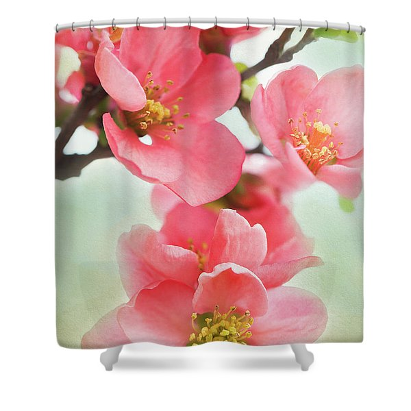 Shower Curtain featuring the mixed media Coral Quince by Emily Johnson