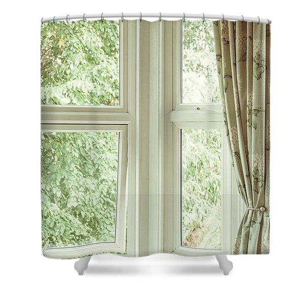 Corner Window Shower Curtain