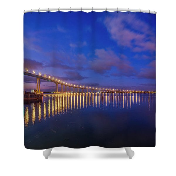 Coronado Bridge Sunrise - Panorama Shower Curtain