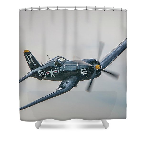 Shower Curtain featuring the photograph Corsair Approach by Tom Claud