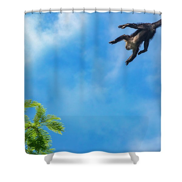 Costa Rica Leaping Capuchin Monkey Shower Curtain