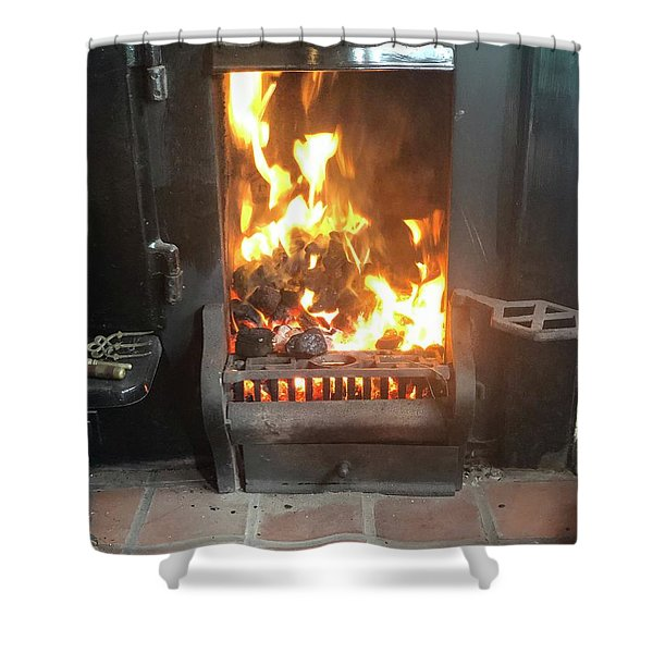 Cosy Winter Fire Shower Curtain