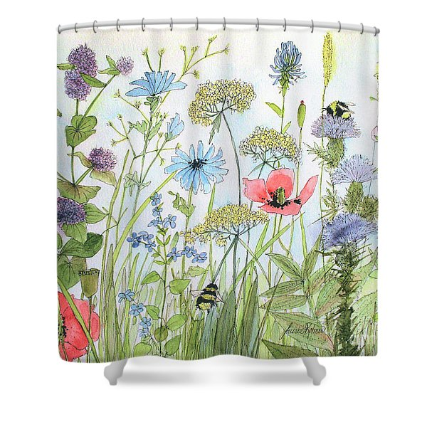 Cottage Flowers And Bees Shower Curtain