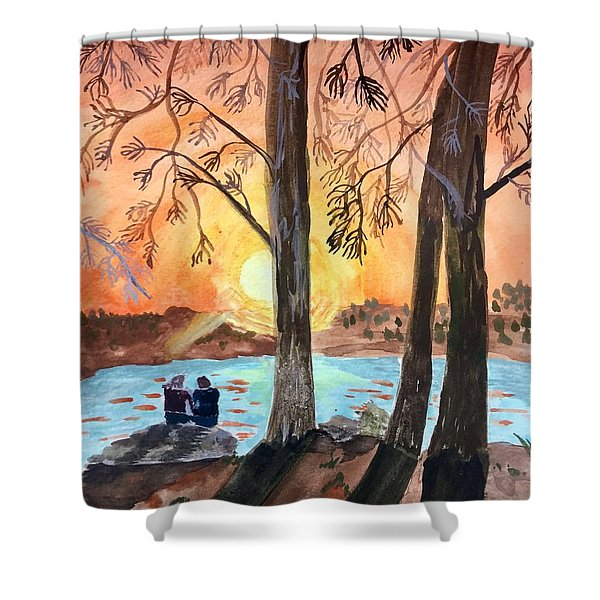 Couple Under Tree Shower Curtain