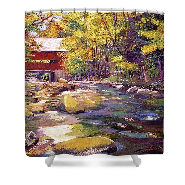 Covered Bridge In Vermont Autumn Shower Curtain