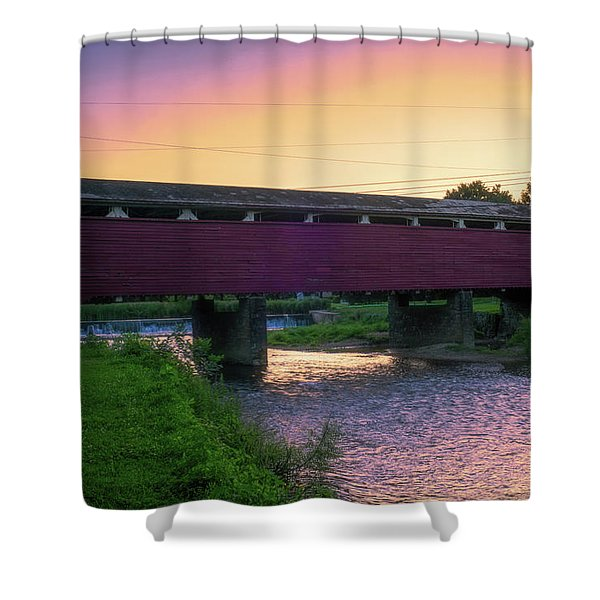 Covered Bridge Sunset Shower Curtain