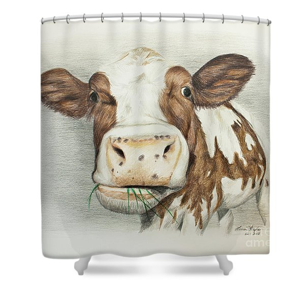 Cow Eating Breakfast Shower Curtain