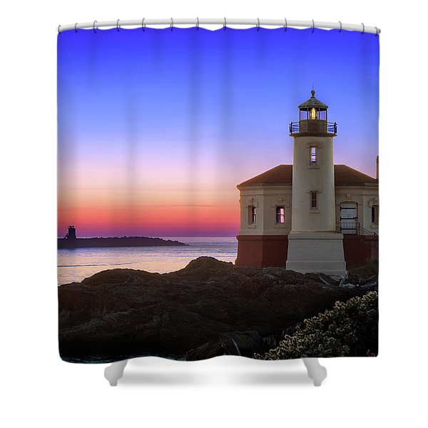 Crab Boat At The Bandon Lighthouse Shower Curtain