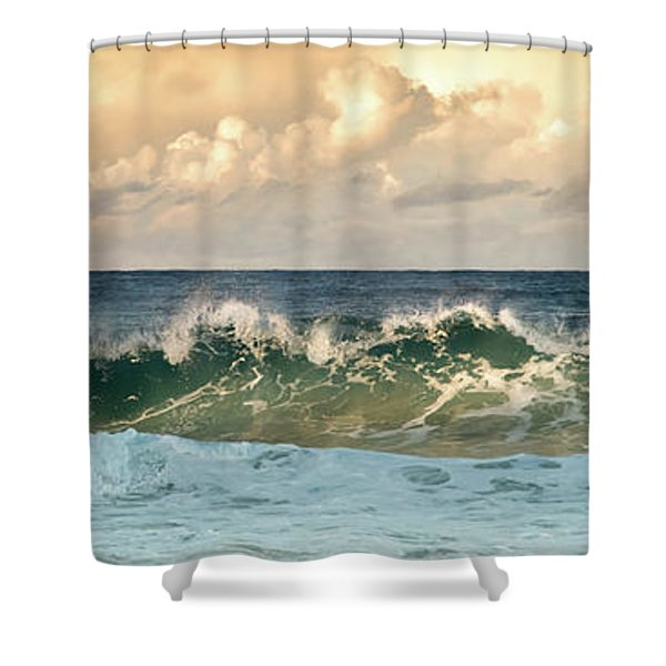 Crashing Waves And Cloudy Sky Shower Curtain