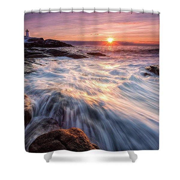 Crashing Waves At Sunrise, Nubble Light.  Shower Curtain