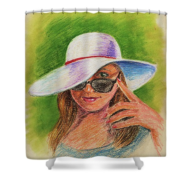 Craving Summer Woman With A Hat Shower Curtain