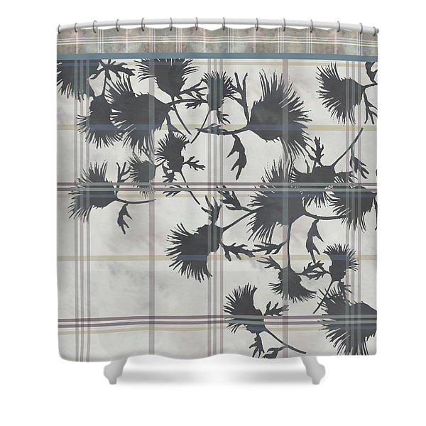 Cream Thistle Plaid Contrast Border Shower Curtain