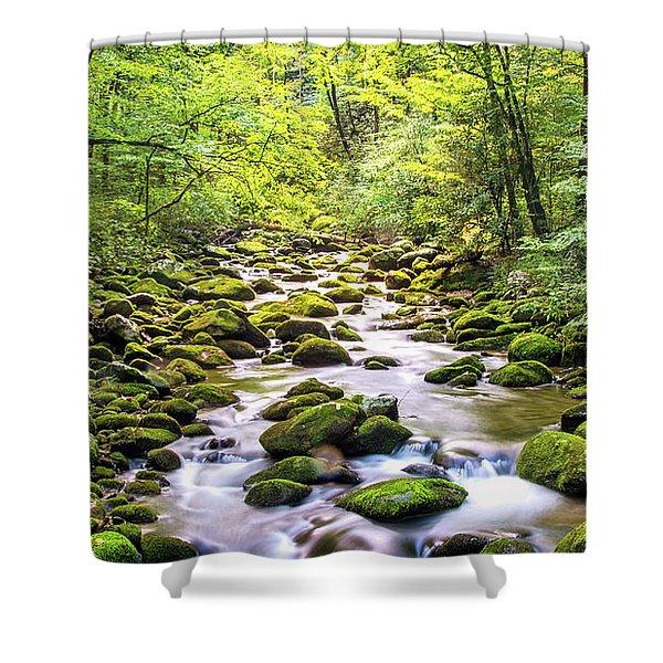 Creek Running Through Roaring Fork In Smoky Mountains Shower Curtain
